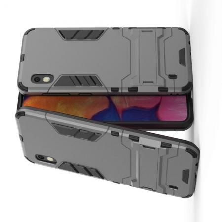 Защитный усиленный гибридный чехол противоударный с подставкой для Samsung Galaxy A10 Серый