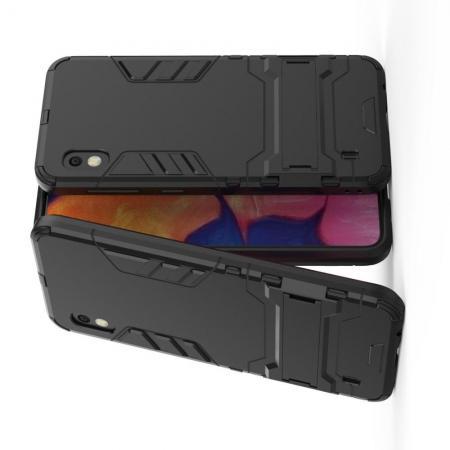 Защитный усиленный гибридный чехол противоударный с подставкой для Samsung Galaxy A10 Черный