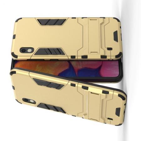 Защитный усиленный гибридный чехол противоударный с подставкой для Samsung Galaxy A10 Золотой