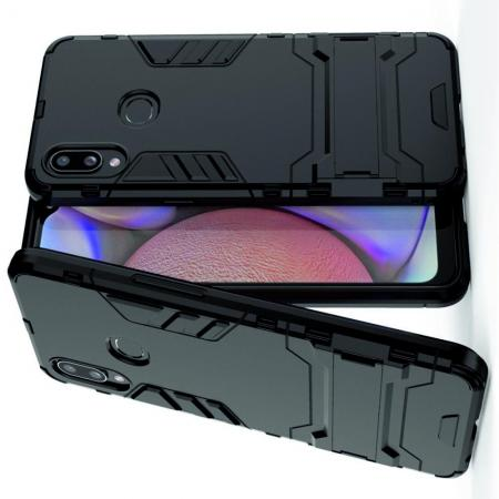 Защитный усиленный гибридный чехол противоударный с подставкой для Samsung Galaxy A10s Черный