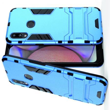 Защитный усиленный гибридный чехол противоударный с подставкой для Samsung Galaxy A10s Голубой