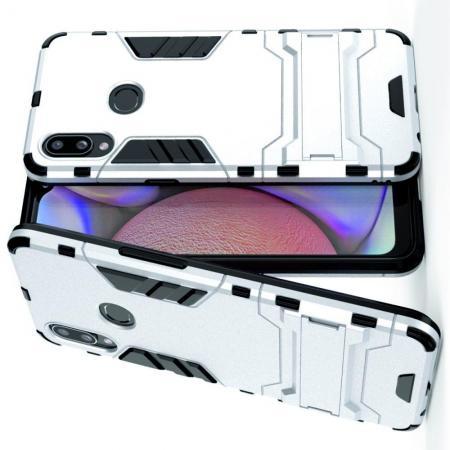 Защитный усиленный гибридный чехол противоударный с подставкой для Samsung Galaxy A10s Серебряный