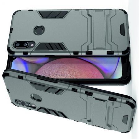 Защитный усиленный гибридный чехол противоударный с подставкой для Samsung Galaxy A10s Серый