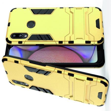 Защитный усиленный гибридный чехол противоударный с подставкой для Samsung Galaxy A10s Золотой