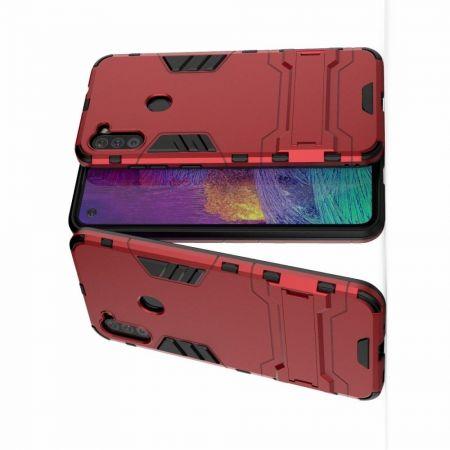 Защитный усиленный гибридный чехол противоударный с подставкой для Samsung Galaxy A11 Красный