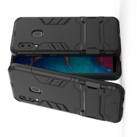 Защитный усиленный гибридный чехол противоударный с подставкой для Samsung Galaxy A20e Черный