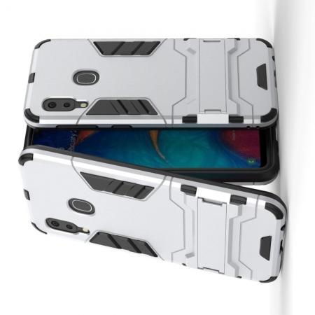 Защитный усиленный гибридный чехол противоударный с подставкой для Samsung Galaxy A20e Серебряный