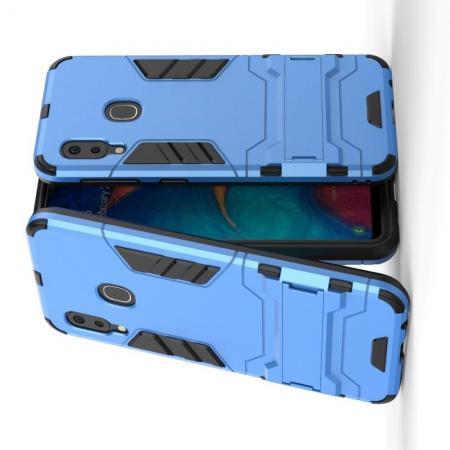 Защитный усиленный гибридный чехол противоударный с подставкой для Samsung Galaxy A20e Синий