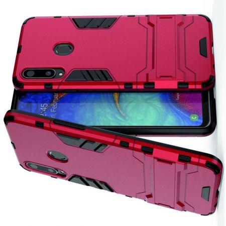 Защитный усиленный гибридный чехол противоударный с подставкой для Samsung Galaxy A20s Красный