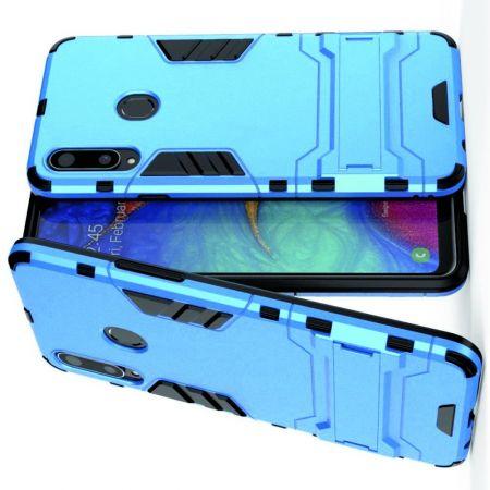 Защитный усиленный гибридный чехол противоударный с подставкой для Samsung Galaxy A20s Синий