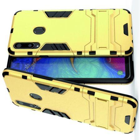Защитный усиленный гибридный чехол противоударный с подставкой для Samsung Galaxy A20s Желтый