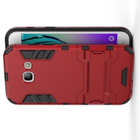 Защитный усиленный гибридный чехол противоударный с подставкой для Samsung Galaxy A3 2017 SM-A320F Красный