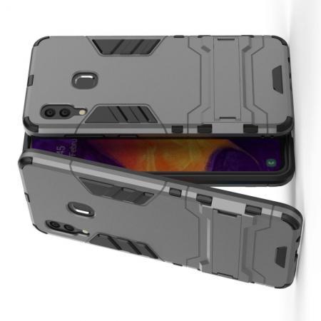Защитный усиленный гибридный чехол противоударный с подставкой для Samsung Galaxy A30 / A20 Серый