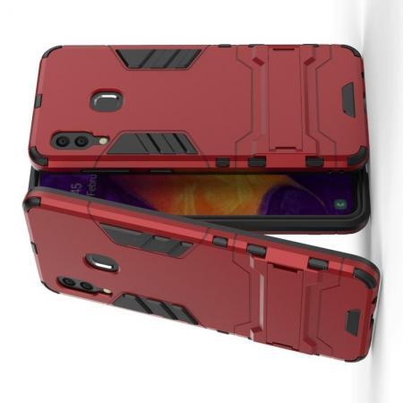 Защитный усиленный гибридный чехол противоударный с подставкой для Samsung Galaxy A30 / A20 Красный