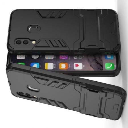 Защитный усиленный гибридный чехол противоударный с подставкой для Samsung Galaxy A40 Черный