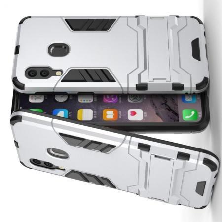 Защитный усиленный гибридный чехол противоударный с подставкой для Samsung Galaxy A40 Серебряный
