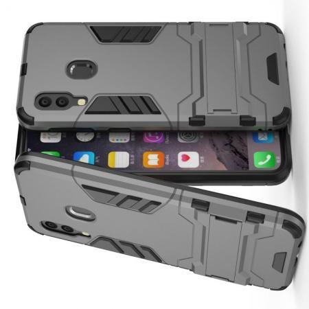 Защитный усиленный гибридный чехол противоударный с подставкой для Samsung Galaxy A40 Серый
