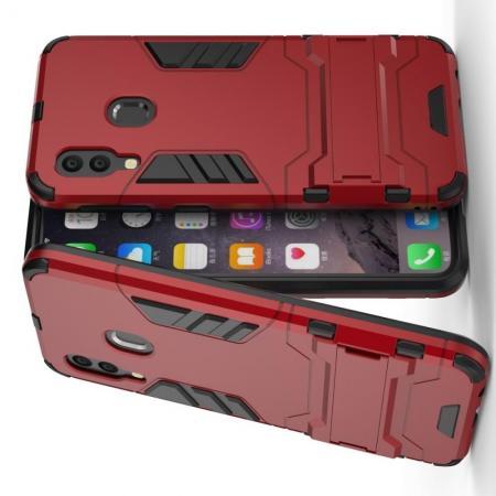 Защитный усиленный гибридный чехол противоударный с подставкой для Samsung Galaxy A40 Красный
