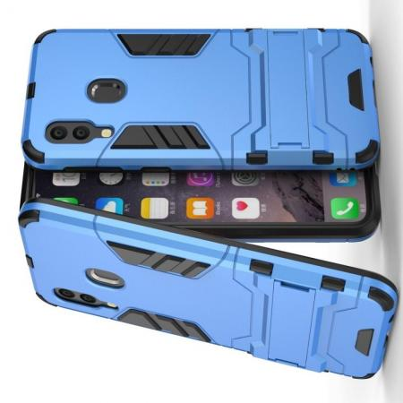 Защитный усиленный гибридный чехол противоударный с подставкой для Samsung Galaxy A40 Синий