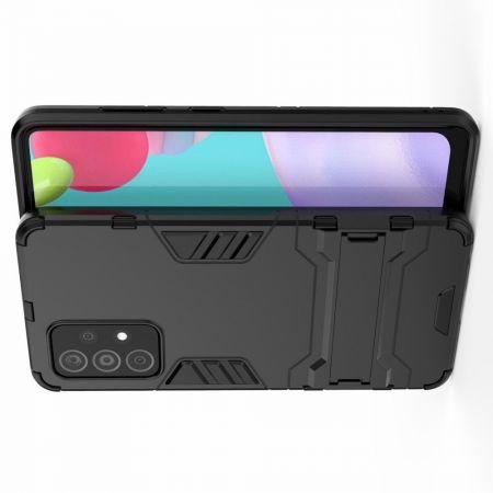 Защитный усиленный гибридный чехол противоударный с подставкой для Samsung Galaxy A52 Черный