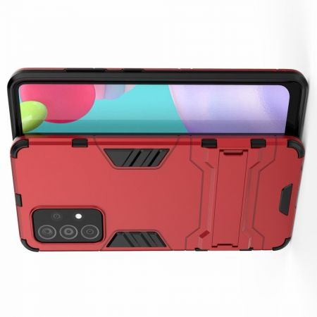 Защитный усиленный гибридный чехол противоударный с подставкой для Samsung Galaxy A52 Красный