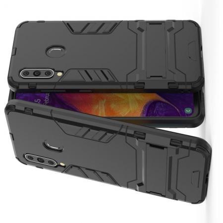 Защитный усиленный гибридный чехол противоударный с подставкой для Samsung Galaxy A60 Черный