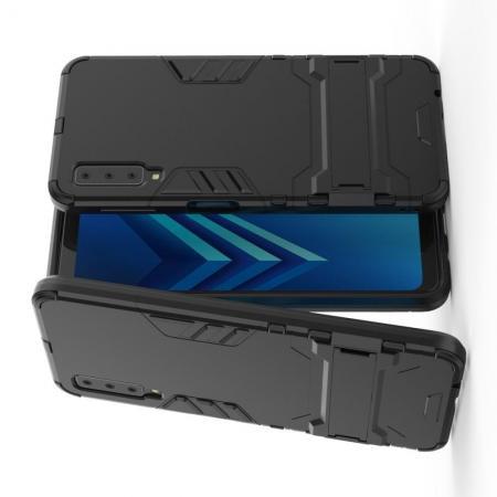 Защитный усиленный гибридный чехол противоударный с подставкой для Samsung Galaxy A7 2018 SM-A750 Черный