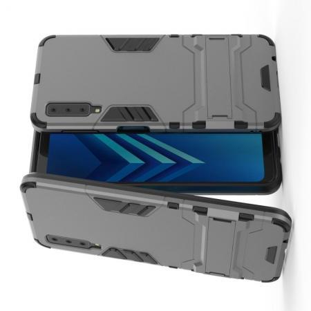 Защитный усиленный гибридный чехол противоударный с подставкой для Samsung Galaxy A7 2018 SM-A750 Серый