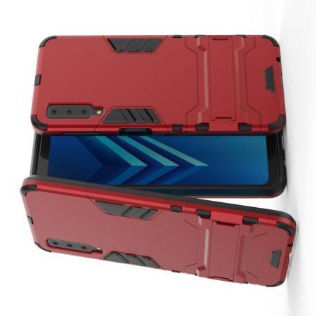 Защитный усиленный гибридный чехол противоударный с подставкой для Samsung Galaxy A7 2018 SM-A750 Красный