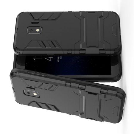 Защитный усиленный гибридный чехол противоударный с подставкой для Samsung Galaxy J2 Core (2020) Черный