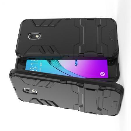 Защитный усиленный гибридный чехол противоударный с подставкой для Samsung Galaxy J3 2018 Черный