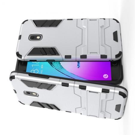 Защитный усиленный гибридный чехол противоударный с подставкой для Samsung Galaxy J3 2018 Серебряный