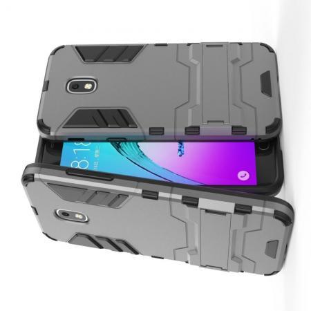 Защитный усиленный гибридный чехол противоударный с подставкой для Samsung Galaxy J3 2018 Серый