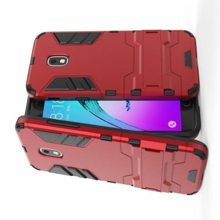 Защитный усиленный гибридный чехол противоударный с подставкой для Samsung Galaxy J3 2018 Красный