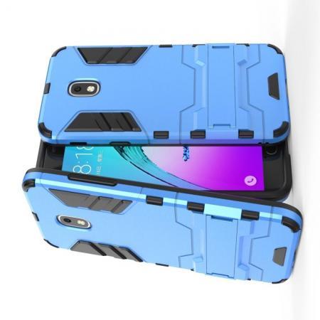Защитный усиленный гибридный чехол противоударный с подставкой для Samsung Galaxy J3 2018 Голубой