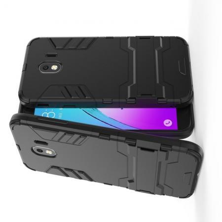 Защитный усиленный гибридный чехол противоударный с подставкой для Samsung Galaxy J4 2018 SM-J400 Черный