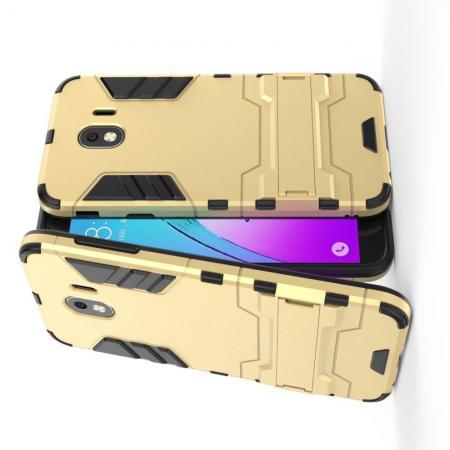 Защитный усиленный гибридный чехол противоударный с подставкой для Samsung Galaxy J4 2018 SM-J400 Золотой