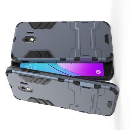 Защитный усиленный гибридный чехол противоударный с подставкой для Samsung Galaxy J4 2018 SM-J400 Синий