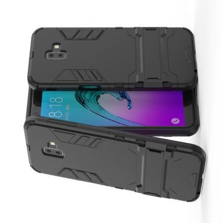 Защитный усиленный гибридный чехол противоударный с подставкой для Samsung Galaxy J6+ 2018 Черный