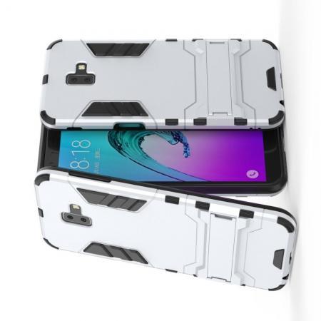 Защитный усиленный гибридный чехол противоударный с подставкой для Samsung Galaxy J6+ 2018 Золотой