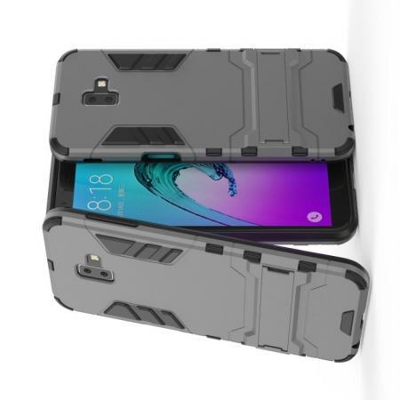 Защитный усиленный гибридный чехол противоударный с подставкой для Samsung Galaxy J6+ 2018 Серый