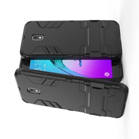 Защитный усиленный гибридный чехол противоударный с подставкой для Samsung Galaxy J7 2018 Черный
