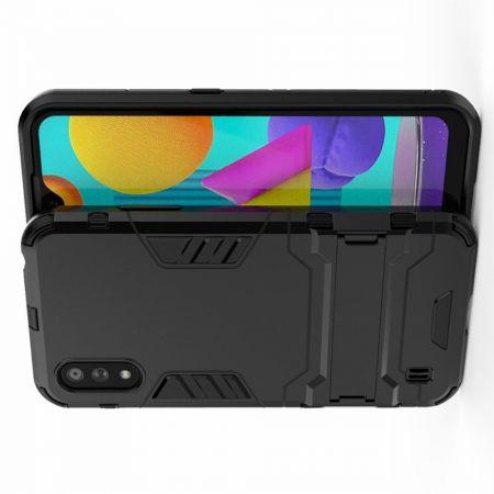 Защитный усиленный гибридный чехол противоударный с подставкой для Samsung Galaxy M01 Черный