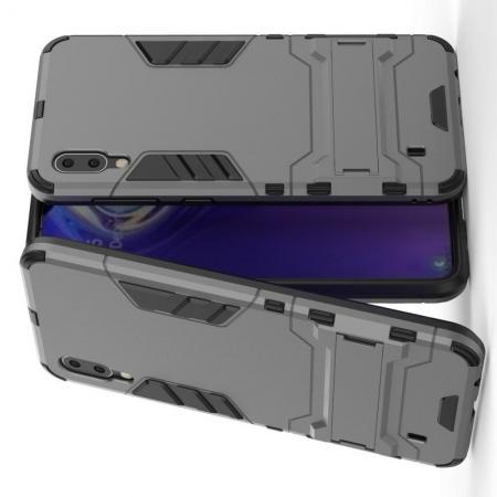 Защитный усиленный гибридный чехол противоударный с подставкой для Samsung Galaxy M10 Серый
