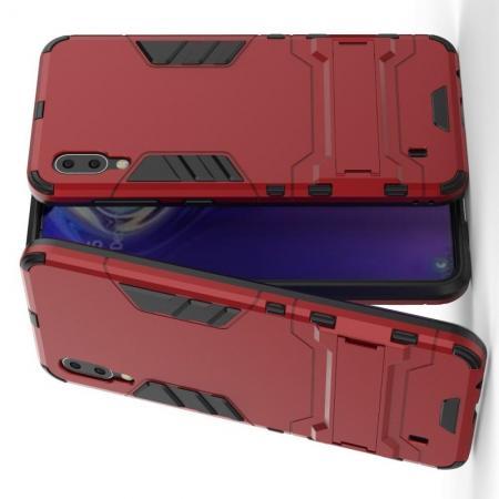 Защитный усиленный гибридный чехол противоударный с подставкой для Samsung Galaxy M10 Красный
