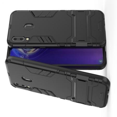 Защитный усиленный гибридный чехол противоударный с подставкой для Samsung Galaxy M20 Черный