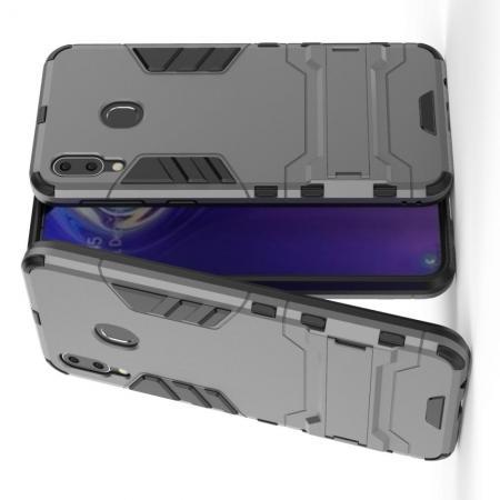 Защитный усиленный гибридный чехол противоударный с подставкой для Samsung Galaxy M20 Серый