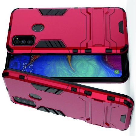 Защитный усиленный гибридный чехол противоударный с подставкой для Samsung Galaxy M30s Красный