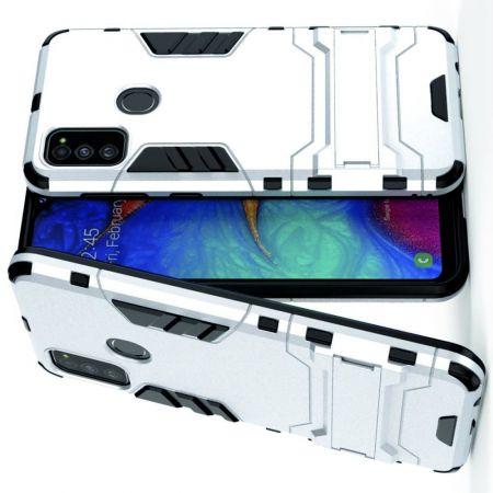 Защитный усиленный гибридный чехол противоударный с подставкой для Samsung Galaxy M30s Серебряный