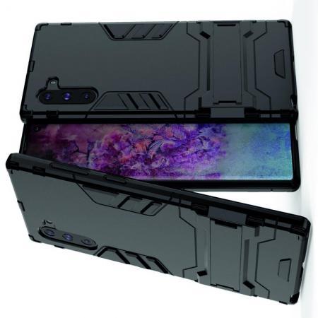 Защитный усиленный гибридный чехол противоударный с подставкой для Samsung Galaxy Note 10 Черный